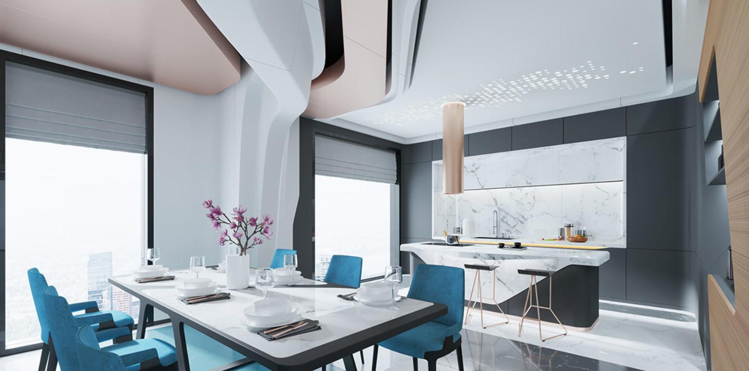 Una casa con decoración azul agua, luminarias de cobre y enormes paneles de luz natural. 2