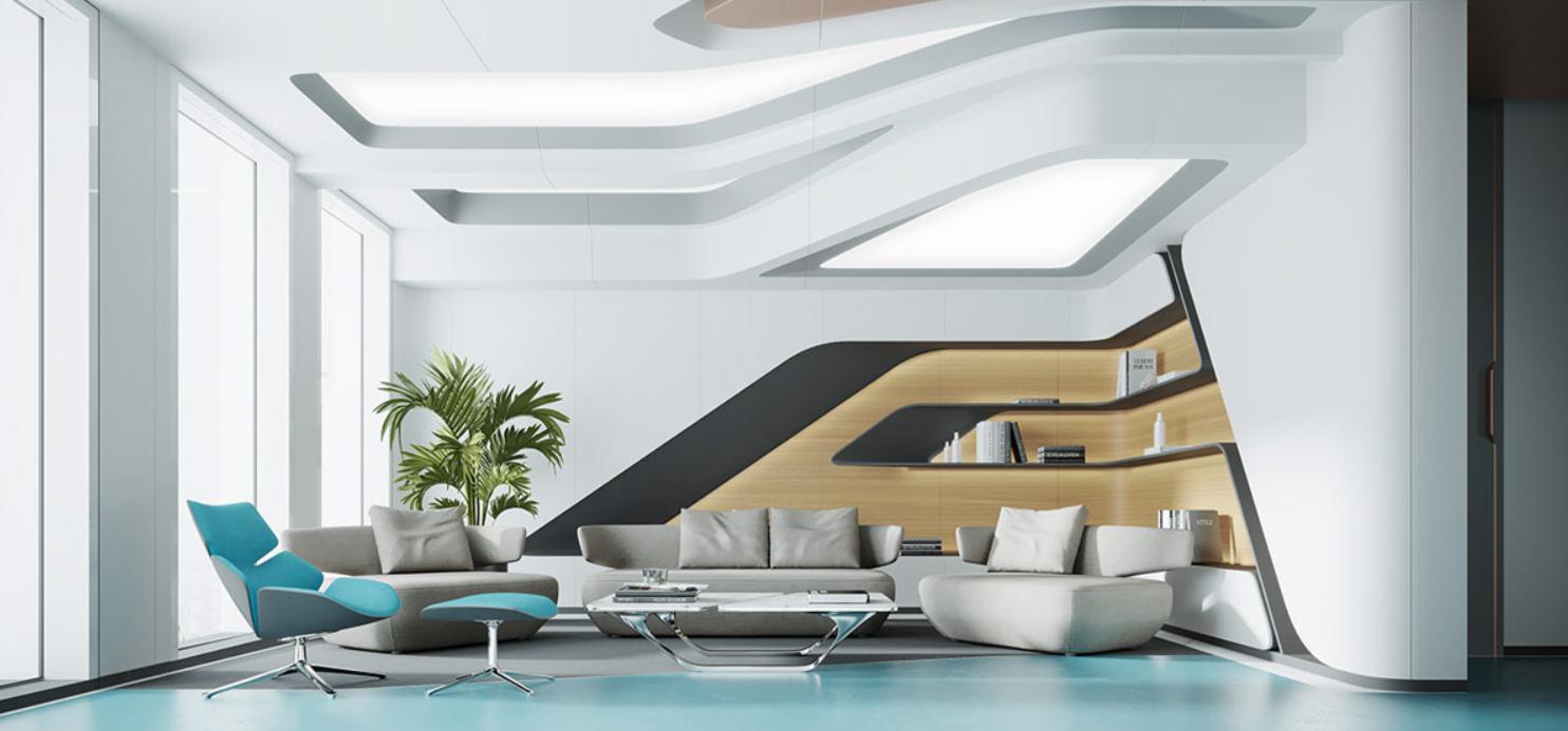 Una casa con decoración azul agua, luminarias de cobre y enormes paneles de luz natural. 22