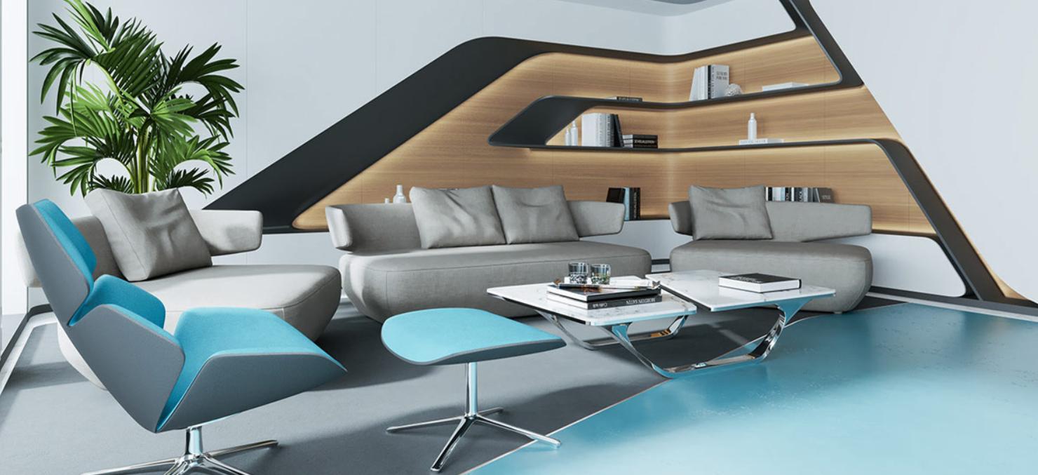 Una casa con decoración azul agua, luminarias de cobre y enormes paneles de luz natural. 3